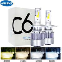 Aslent C6 led Car Headlight H7 LED H4 Bulb HB2 H1 H3 H11 HB3 9005 HB4 9006 9007 72W 8000lm Auto Lamps Fog Lights 12V 3000K 8000K