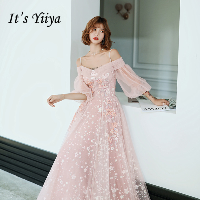 It's Yiiya Evening Dress Boat Neck Appliques Pink Formal Gowns Long Plus Size Evening Dresses Elegant Lace Robe De Soiree LF167