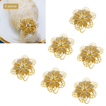 TAI Top 6Pcs/Set Gold Flower Napkin Rings Hollow Out Crystal Napkin Holder For Party Wedding Tool Hotel Table Decoration tai top 1 pc flower napkin rings gold silver crystal napkin holders napkin buckle for wedding dinner party table decoration