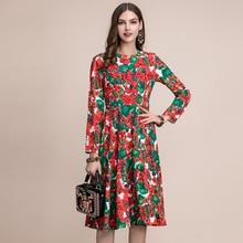 Baogarret Fashion Runway Autumn Long Sleeve Dress Womens Gorgeous Floral Print Appliques Beading Ladie Midi Elegant