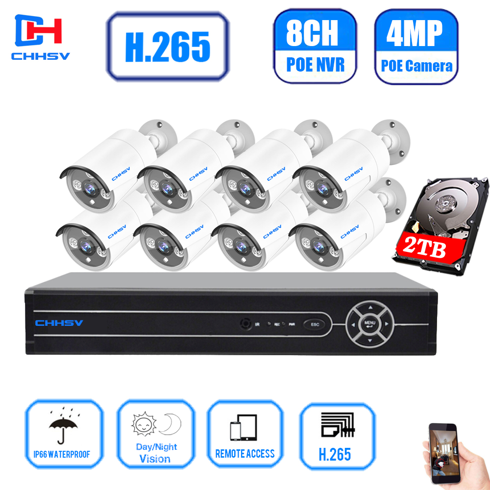 cctv 8 channel system  POE NVR Kit CCTV Camera System 4.0MP Outdoor Security IP Camera P2P Video Surveillance System Set 2TB HDD