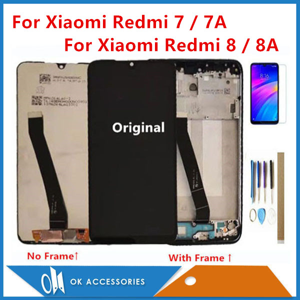 Original For Xiaomi Redmi 7 Redmi 7A Redmi 8 Redmi 8A LCD Display With Touch Screen Digitizer Sensor With Frame With Kits