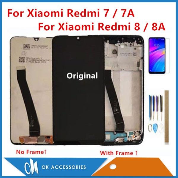 Original For Xiaomi Redmi 7 Redmi 7A Redmi 8 Redmi 8A LCD Display With Touch Screen Digitizer Sensor With Frame With Kits