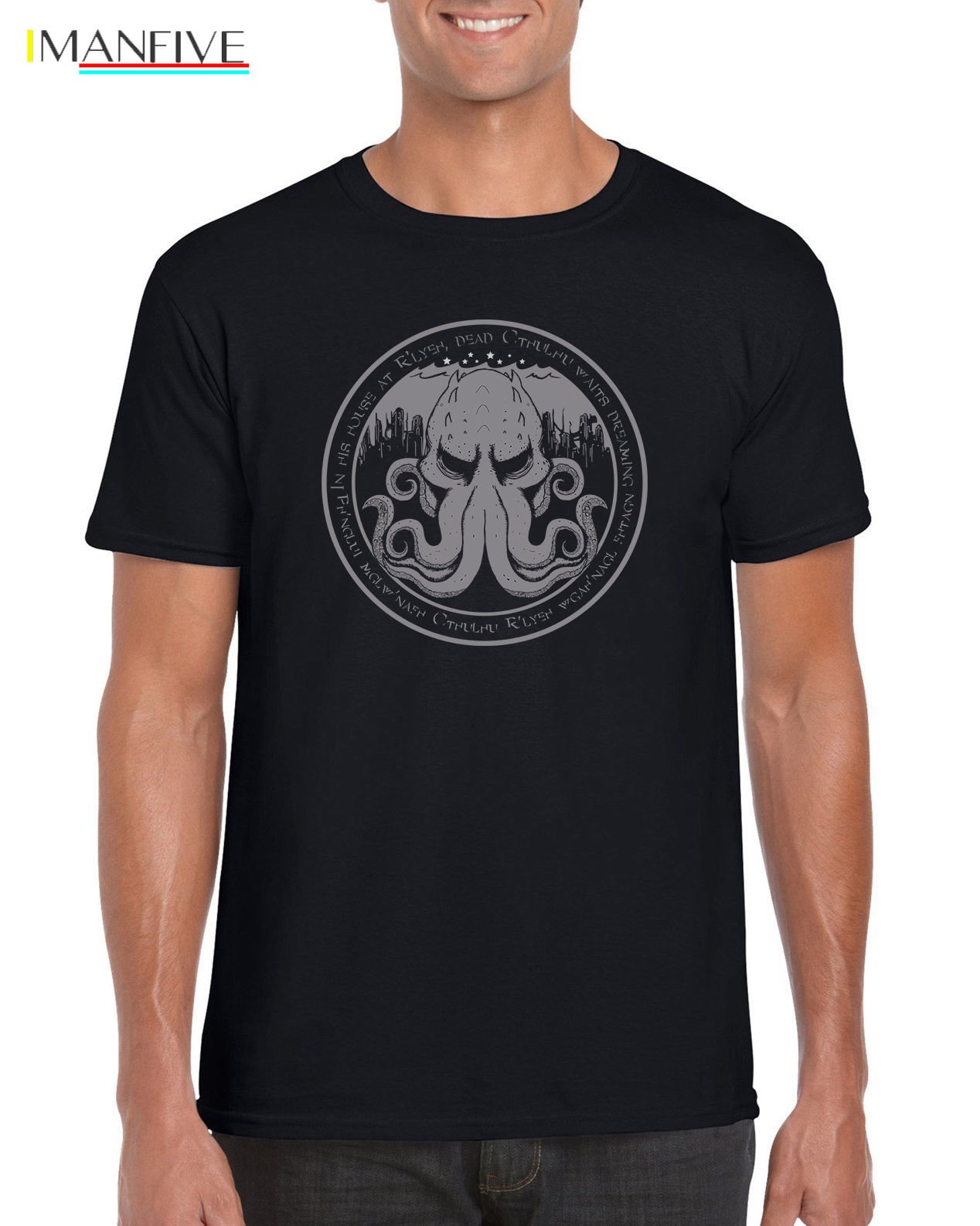 quot In His House At R 39 yleh quot Cthulhu Lovecraft Inspired Book T shirt S 3XL Men T Shirt Great Quality Funny Man Cotton in T Shirts from Men 39 s Clothing