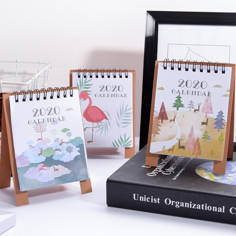 Year 2020 Mini Desktop Calendar Creative Flamingo Kawaii Animal Agenda Calendar School Office Supplies Desk Accessories Storage