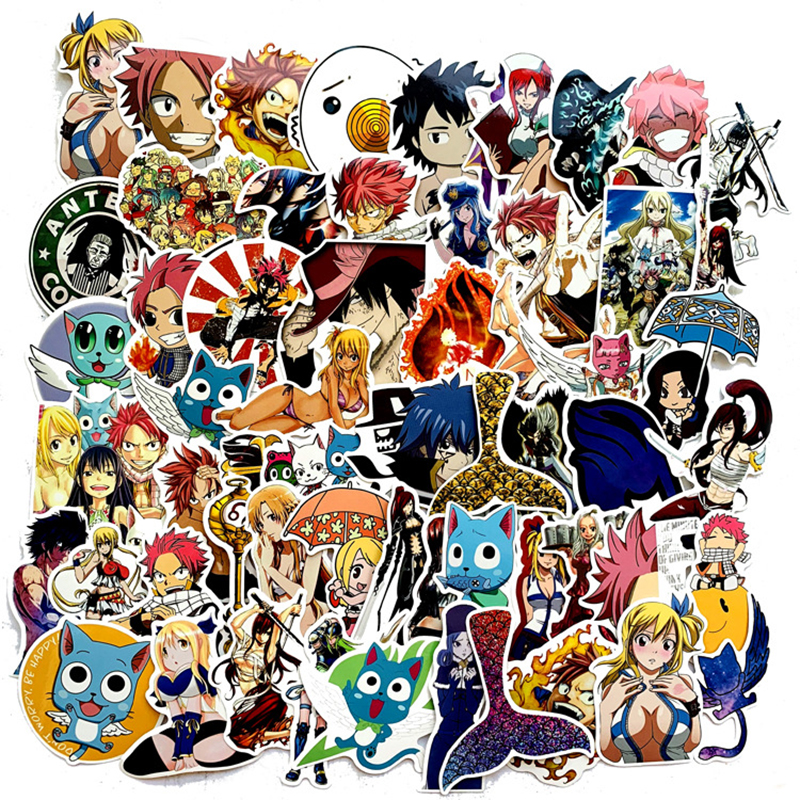 60Pcs Classic Japanese Anime Fairy Tail Sticker For Bike Motorcycle Skateboard Guitar Laptop Luggage Graffiti Sticker F3