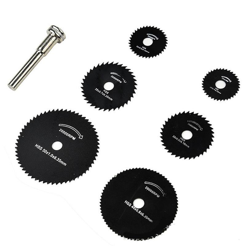 6mm Mini Circular Saw Blades Power Tools 6Pcs HSS Wood Cutting Disc Grinding Wheel Set For Dremel Tools Drill Dremel Accessories