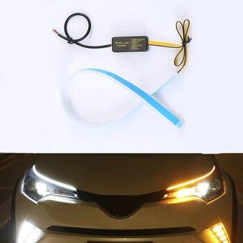 цена на 2x For Toyota Corolla Camry Sienna Venza Reiz Innova Led Strip Car Headlight stiker DRL Daytime Running Lights Turn Signal Lamp