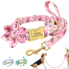 Lead-Rope Leash-Set Id-Tag-Collars Personalized Dogs Small Walking Large And Print Nylon