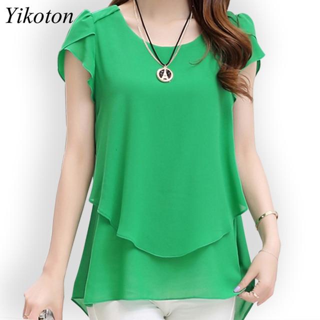 Yikoton 2021 New Summer Women Blouse Loose Shirt O-Neck Chiffon Blouses Female Short Sleeve Blouse Plus Size Shirts Tops Blusas 1