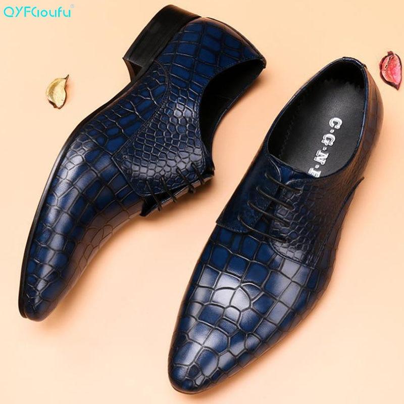 Sapatos de Casamento Sapatos de Vestido de Crocodilo Toe para o Homem Qyfcioufu Homens Couro Genuíno Formal Negócios Apontou Padrão Oxford Apartamentos Masculinos