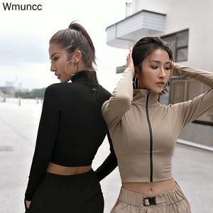 Wmuncc aptidão correndo jaqueta de treinamento manga longa com zíper camisa esportiva secagem rápida jogging colheita topo treino roupas esportivas