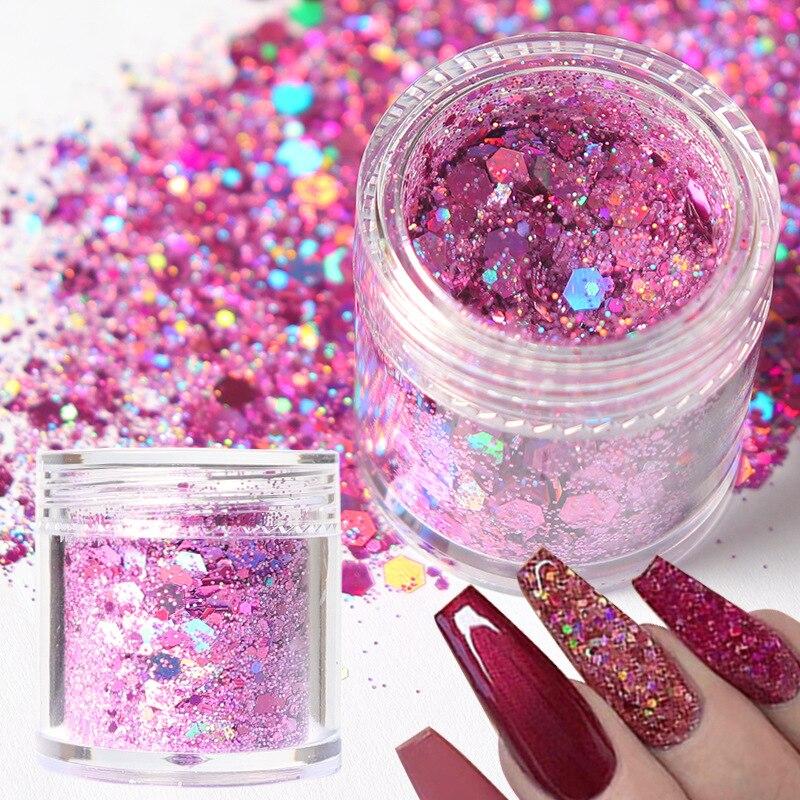 1 caixa holográfica chunky glitter para unhas arte decoração mix laser forma hexágono sparkly 3d holo lantejoulas acessórios
