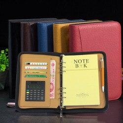 Business Notebook Met Rekenmachine Pu Leather Cover Schrijfblokken Bestandsmap Rits Notepad Kantoor School Briefpapier Leveringen