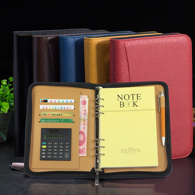 Business Notebook With Calculator PU Leather Cover Writing Pads File Folder Zipper Notepad Office School Stationery Supplies