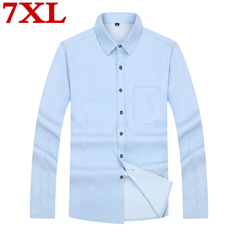 Plus Size 7XL 6XL Casual Men Shirts  Loose Fit Male Social Shirts Brand Long Sleeve Business Shirt Men Clothes