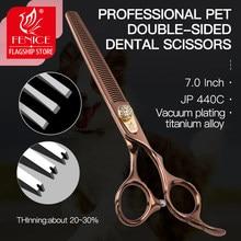 Tesoura de fenice professional, 7.0 polegadas, lado duplo, para animais de estimação, taxa de desbaste 20-30%