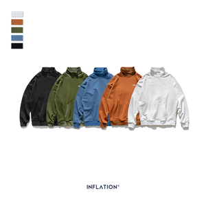 Image 5 - INFLATION Basic Men High collar Sweatshirt Pure color Mens Sweatshirt With Pouch Pocket Loose Fit Mens Autumn Sweatshirt 9620W