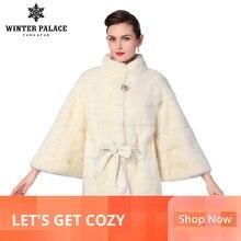 ベストセラーの天然ミンク毛皮のミンクの毛皮のコートはバットモデルロング取り外し可能スリーブ毛皮の襟とフード