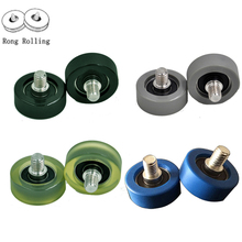 PU material slding roller/pulley/wheels Trolley Wheel M8x10 Screw Roller 608RS Bearing Pulley , package bearing 10pcs/lot