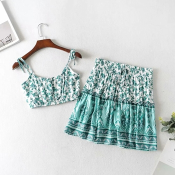 Women Boho Floral Print Skirts Set Fashion Summer Bandage Strap Spaghetti strap Cropped Top+ Mini Skirts Gypsy Beachwear 6