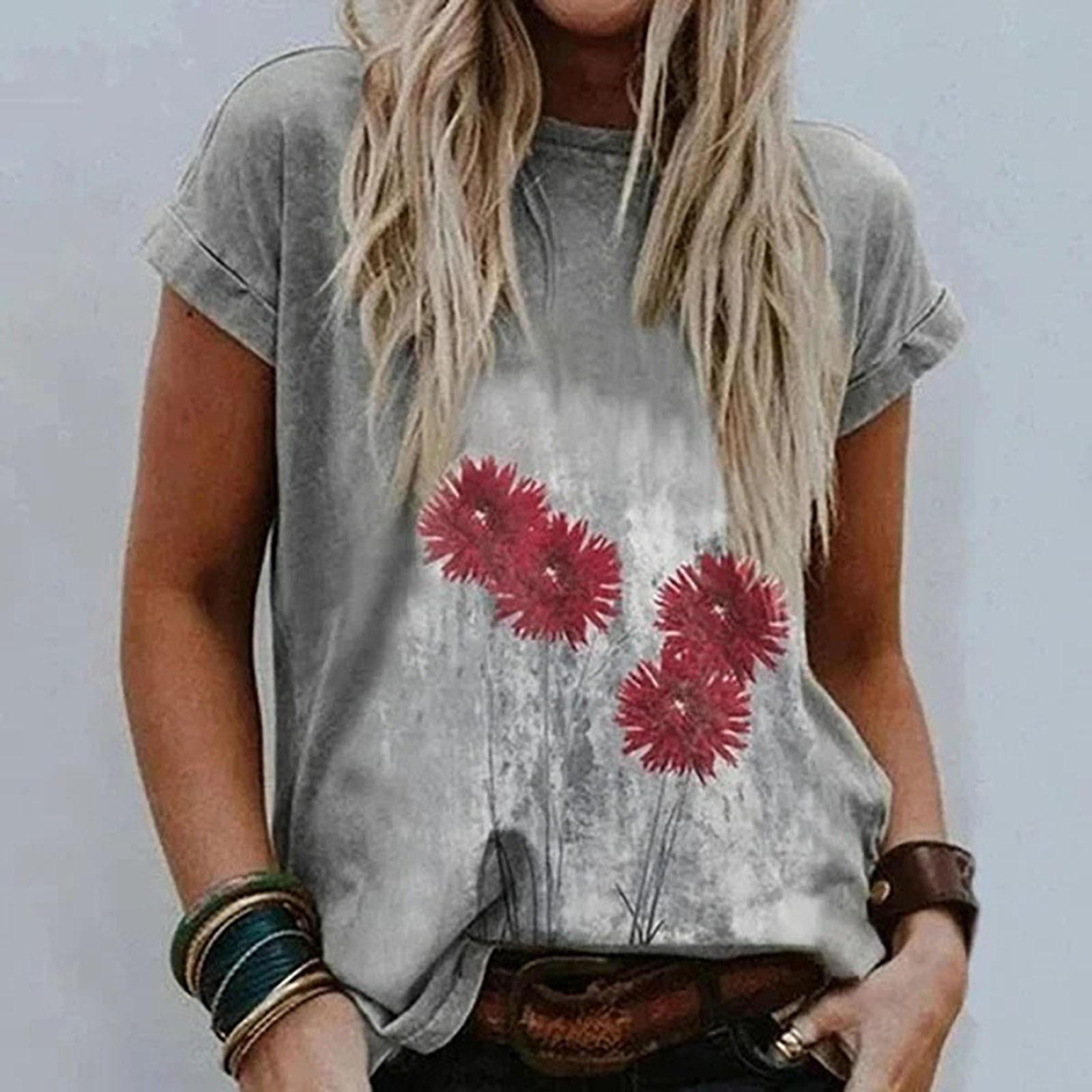 Dandelion Printing Women T Shirt Fashion Sexy Loose Woman T shirts Short Sleeve Aesthetic T-shirt