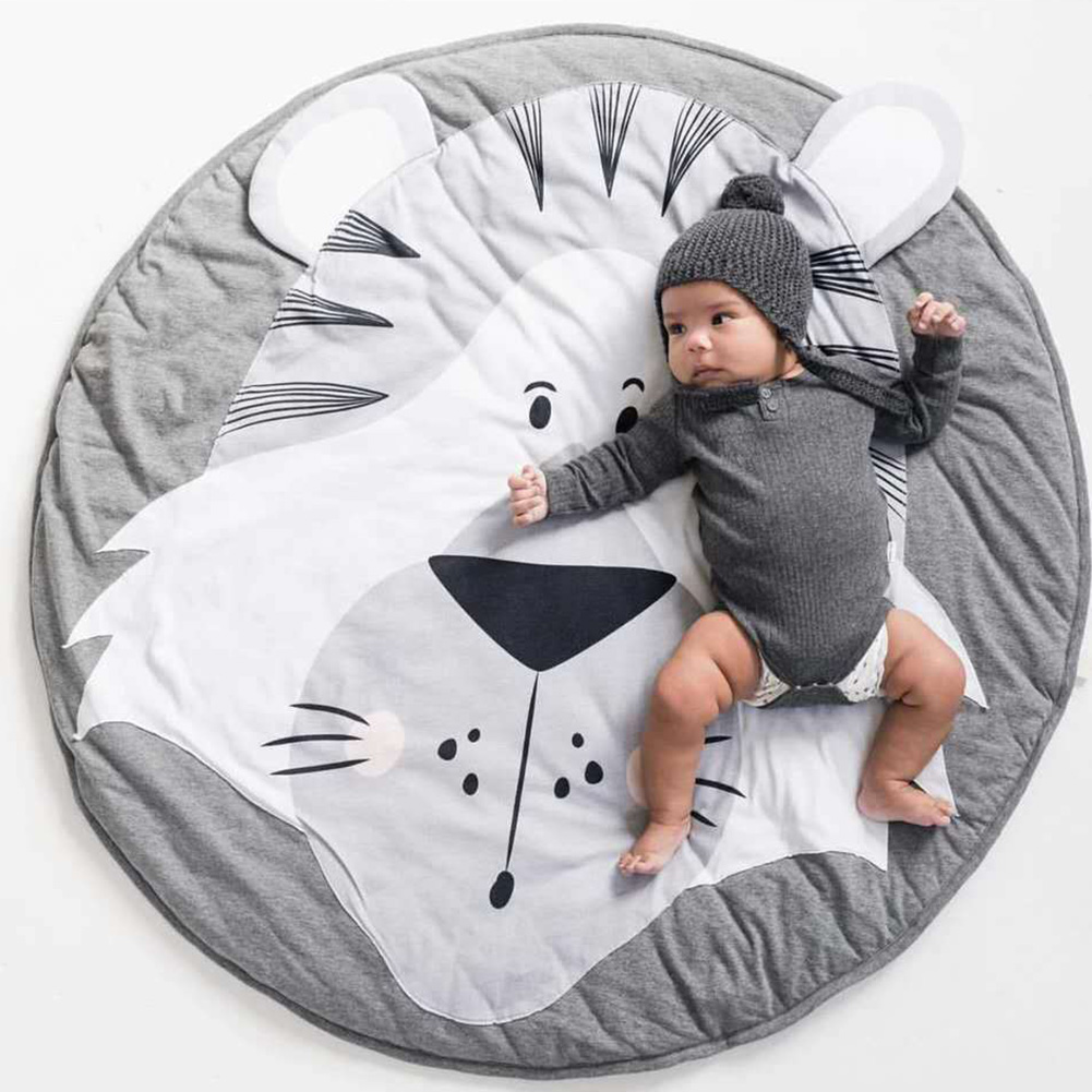 Butterfly Washable Soft Kids Tiger Durable Play Mats Floor Rug Practical Bedroom Crawling Animal Printed Round Decorative