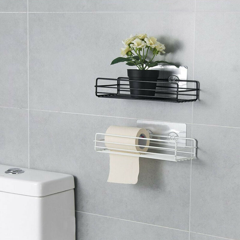 Rust Stainless Steel Shower Gel Adhesive Shampoo Holder Kitchen Bathroom Wall Storage Rack Shelf Organiser Suction Basket Shelf Pakistan