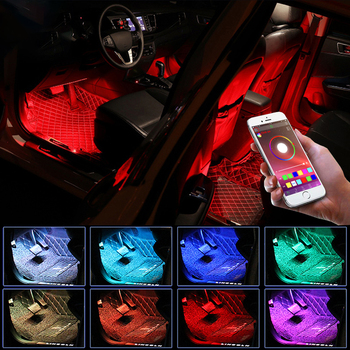 LED Car Foot Light Ambient Lamp With USB Bluetooth App Remote Control Multiple Modes Automotive Interior Decorative Lights car 12v led app foot lamp 9smd ambient light voice control music lamp phone control lamp 5050 9 x 4 smd car neon light car