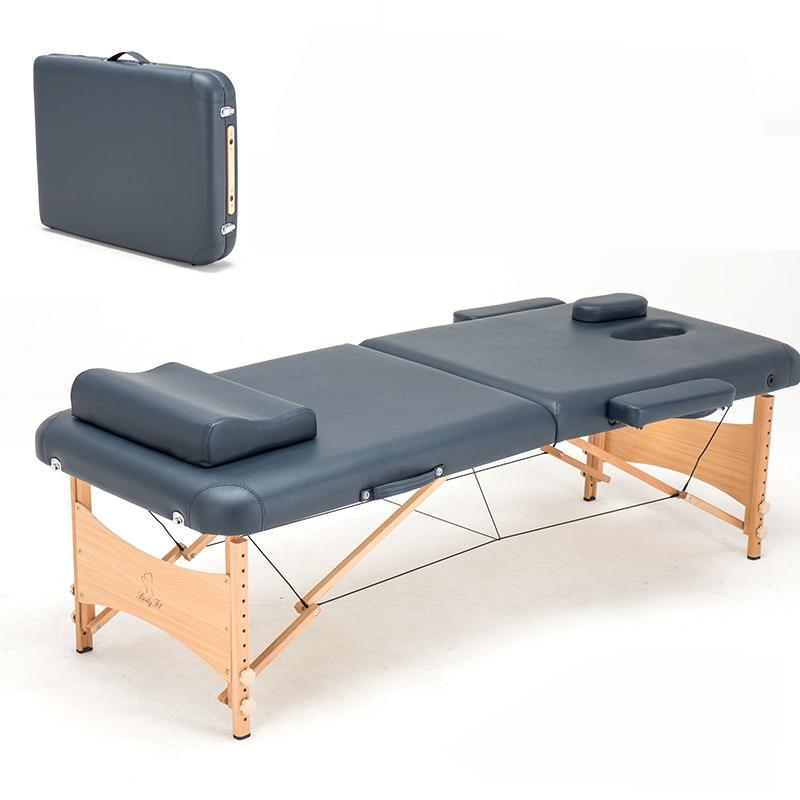 186cm*70 Beech Wooden Leg PVC Leather Adjustable Massage Table Spa Tattoo Beauty Furniture Portable Folding Massage Salon Bed