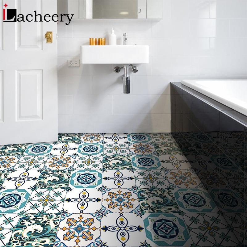 Thick Self Adhesive Vinyl Ceramic Tile Wallpaper Waterproof Contact Paper Art Diagonal Floor Stickers DIY House Decor Mural Film