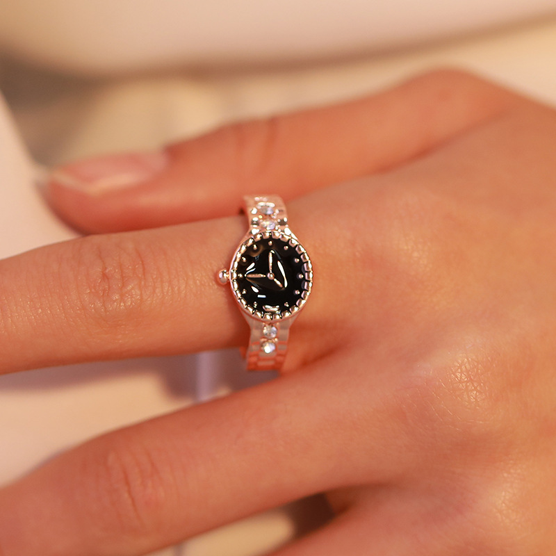 Silver Ring Jewelry Crystal Christmas-Gift Watch-Shaped Gold Girl Mini Creative Wholesale