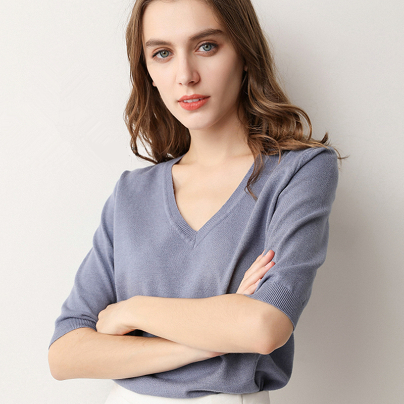 Ladies Spring Summer Women Sweaters Pullovers Solid V Neck Half Sleeve Knitted Jumper Thin Soft Slim Casual Sweater Tops Female