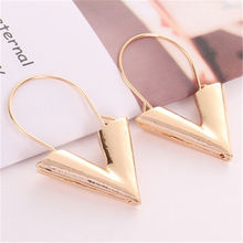 New Korean Earrings Simple Trendy Metal V Shape Drop Earrings for Women Brincos Earring Fashion Wedding Jewelry Gift Oorbellen
