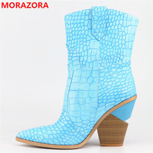 2020 New Fashion Womens Boots Casual Leather High Heels Spring Shoes Woman cowboy boots for women Ankle Boots Zapatos Mujer
