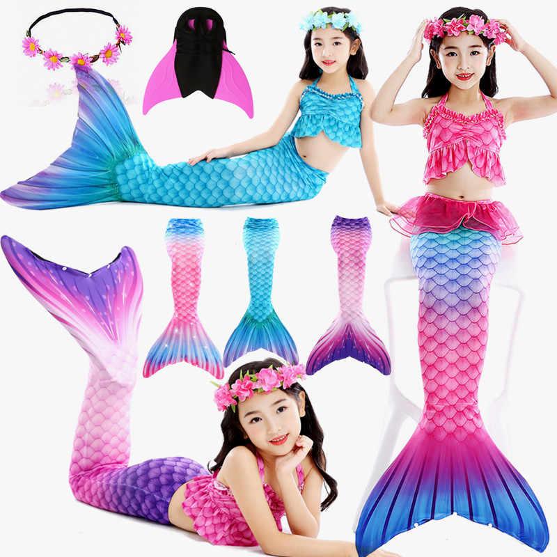 2020 새로운 도착 레인보우 핑크 인어 꼬리 수영복 아이를위한 핀 소녀 휴가 드레스 의상 수영복