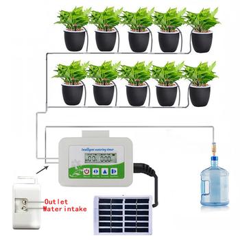 Intelligent Garden Automatic Watering Device Solar Energy Charging Potted Plant Drip Irrigation Water Pump Timer System