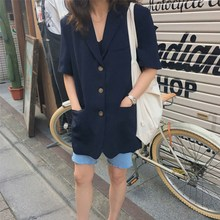 Fashion Summer Women Black Notched Blazer Korea Single Breasted Pockets Casual Office Ladies Short Sleeve