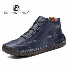2021 buty z prawdziwej skóry mężczyzn zasznurować botki w stylu Vintage antypoślizgowe wysokiej góry obuwie męskie trampki wodoodporne motocykle tanie tanio ENLEN BENNA Podstawowe CN (pochodzenie) ANKLE Stałe Okrągły nosek RUBBER Wiosna jesień Mieszkanie (≤1cm) 9930 leather boots