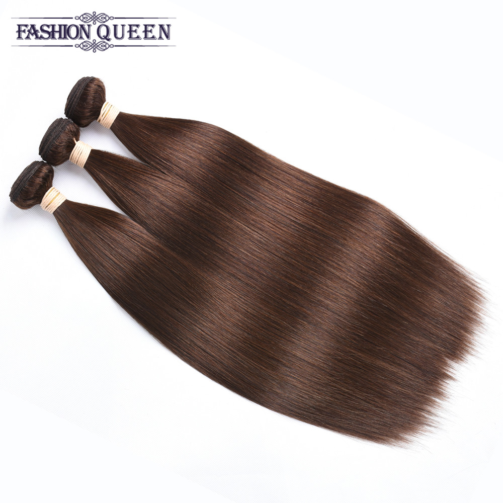 Pre-Colored Straight Hair 4# Light Brown 3 Bundles Pack Indian Hair Non Remy Hair Bundles Fashion Queen