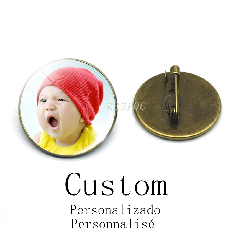 1pc Custom Round Badge Personalized Brooch Pins Diy Your Photo Logo Text Vintage Bronze Brooch Gift For Friends Lovers
