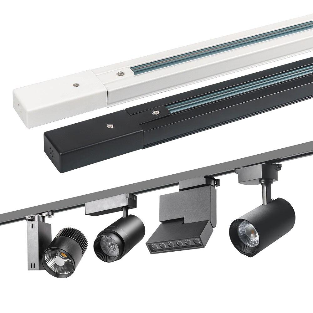 Track Rail 1m Track Light Fitting Aluminum 1 meter 2 wire Connector System Tracks Fixture black white Universal  Rails 10pcs/lot