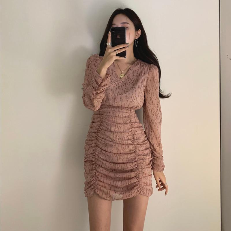 H9289f1a0354640b9b3046fecf3f641b4s - Autumn V-Neck Long Sleeves Chiffon Pleated Floral Print Mini Dress