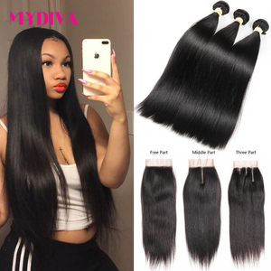 Mydiva Brazilian Hair Weave Bundles With Closure Human Hair Bundles With Closure Straight Non Remy Hair Extension 4PCS Lot(China)