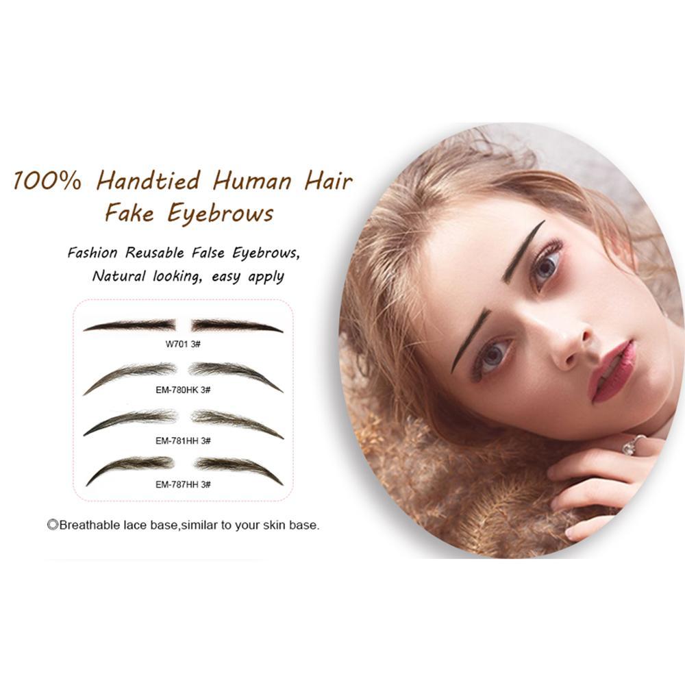 Neitsi Women's Fake Eyebrows 100% Hand Made Human Hair False Eyebrows