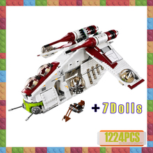 цены Star 75021 Wars The Republic Gunship StarWars Building Blocks Compatible Lepines 05041 Set with Figures Bricks Children Toys