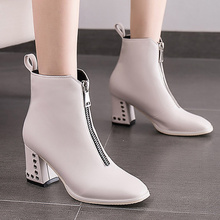 Winter woman boots Fashion Ankle for women Wear-resistant Increasing PU Leather Boots Women Short Plush Warm