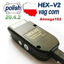 2020 mais novo hex v2 interface vagcom 20.4.1 vag com 20.4.2 para vw para audi skoda seat vag 20.4 polonês inglês diagnóstico do carro