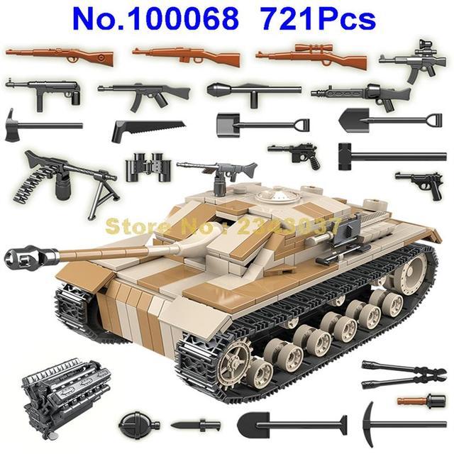 721 pièces ww2 militaire allemagne réservoir militaire seconde guerre mondiale réservoir 2 soldat arme armée blocs de construction jouet