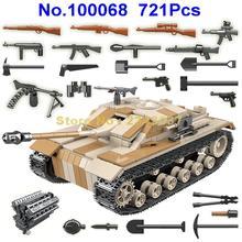 721Pcs Ww2 ทหารเยอรมนีถังทหารWorld War Ii 2 ทหารอาวุธกองทัพอาคารบล็อกของเล่น